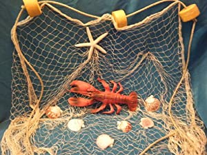 10 X 8 Ft New Decorative Fish Net, Fishing Net, Seashells, Lobster, Rope, Floats for Nautical Decor Display