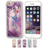 Iphone 6s Case Liquid Floating Purple Iphone 6s Glitter Case, Fuzzy Green Limited® Bling Crystal Diamond Rhinestone Glitter Lovely Butterfly Quicksand Liquid Clear PC Case for iPhone 6S 4.7 Inch