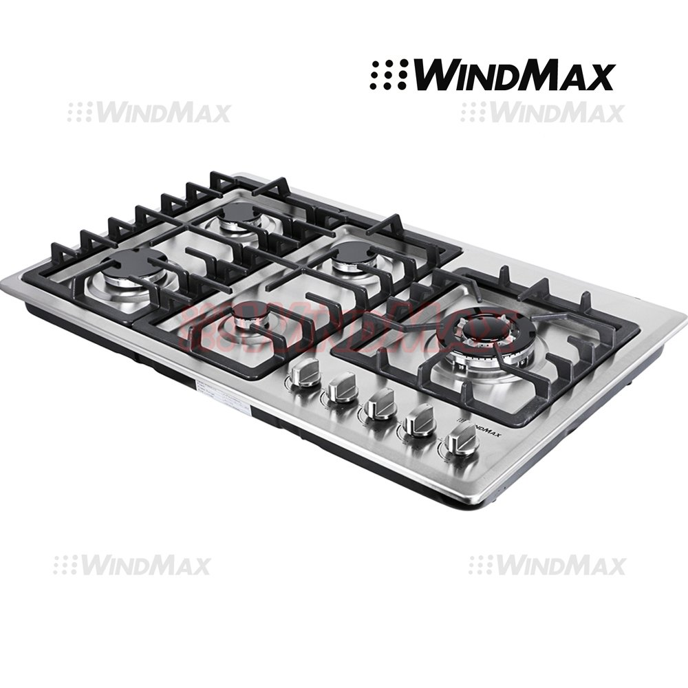 "Ships From CA, USA 34"" Stainless Steel Circular Frame 5 Burners Stove NG/LPG Gas Cooktops Cooker"