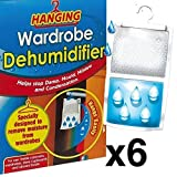 6 x Wardrobe Dehumidifier- Hanging Wardrobe Dehumidifier Ideal to stop damp, mould mildew & condensation - Remove damp and improve air quality