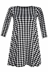 Womens 3/4 Sleeved Dog Tooth Print Swing Dress (mia)
