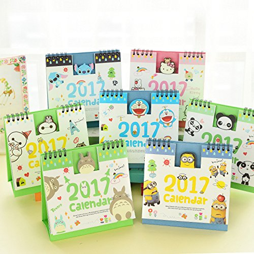 Year 2017 Cute Cartoon Characters 3D Desktop Paper Calendar dual Daily Scheduler Table Planner Yearly Agenda Organizer (Minions) (Mini Mini Fridge Teal compare prices)