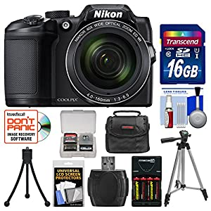 Nikon Coolpix B500 Wi-Fi Digital Camera with 16GB Card + Case + Batteries & Charger + Tripod + Kit