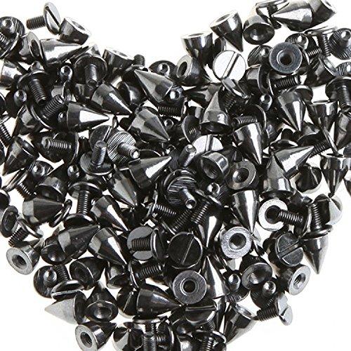 RUBYCA 50 sets 9MM Black Gunmetal Color Bullet Cone Spike Stud Metal Screw Back DIY Leather-craft (9mm Bullet Belt compare prices)