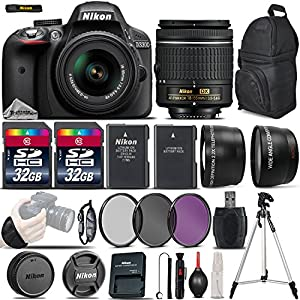 Nikon D3300 DSLR Camera 24.2MP + Nikon 18-55mm VR Lens + .43x Wide Angles + 2.2X Telephoto Lens + 3PC Filter Kit (UV-CPLFLD) + 64GB Storage + Extra Battery + Tripod - International Version
