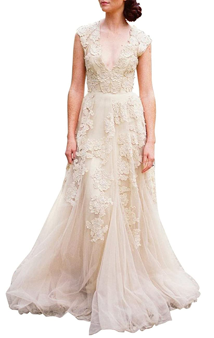 ASA Bridal Women's Vintage Cap Sleeve Lace A Line Wedding Dresses Bridal Gowns 0