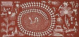 Tarpa Dance on Deepawali - Warli Painting On Cotton FabricFolk Art of the Warli Tribe (Maharashtra)A