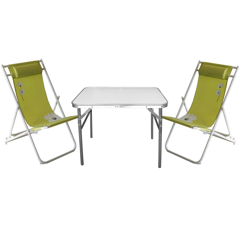 3tlg. Campinggarnitur Aluminium Klapptisch 55x75cm + 2x Liegestuhl klappbar Grün Gartengarnitur bestellen