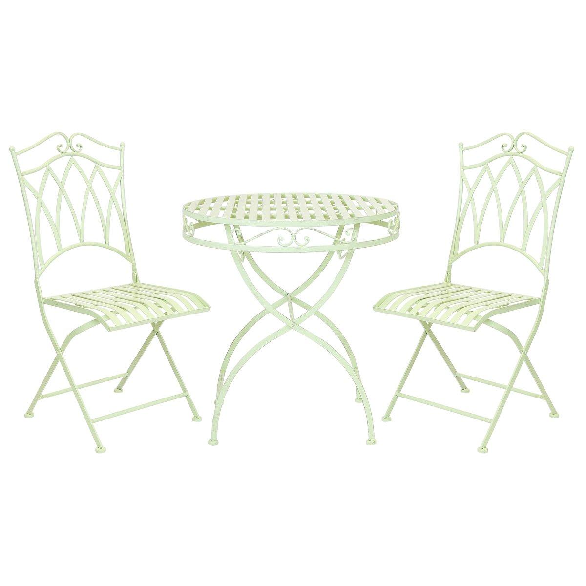 Bentley Garden – Bistro-Sitzgarnitur – Tisch & 2 Stühle – Schmiedeeisen – Hellgrün bestellen