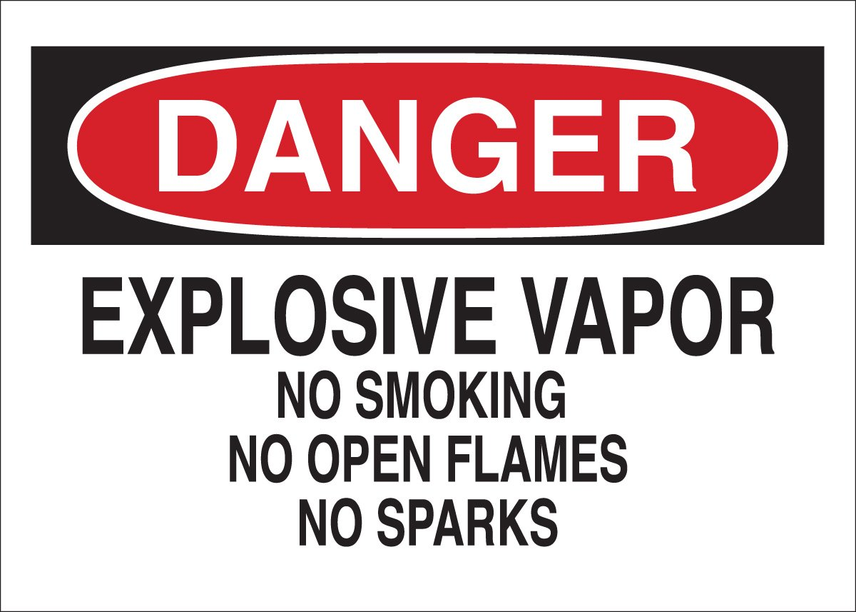 Brady 85166 Self Sticking Polyester, 10 X 14 Danger Sign Legend Explosive Vapor No Smoking No Open Flames No Sparks nmc w6ab osha sign legend warning lead work area poison no smoking or eating 14 length x 10 height aluminum black on orange