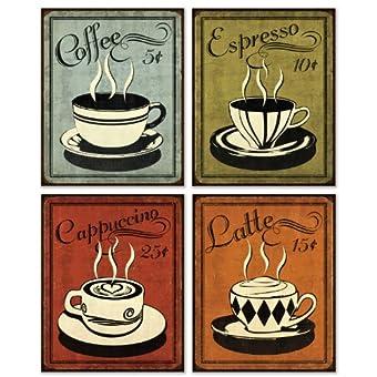 Retro Coffee Set By N Harbick 8x10 Art Print Poster