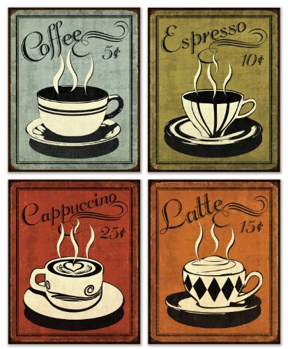 Retro Coffee Set By N Harbick 8 X10 Art Print Poster