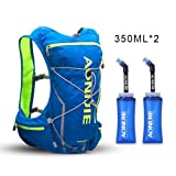 AONIJIE Running Hydration Pack Backpack with 2L Water Bladder for Men 10L Deluxe Running Race Hydration Vest Outdoors Mochilas for Marathon Running Cycling Hiking(blue-350ml) (Color: blue-350ml)