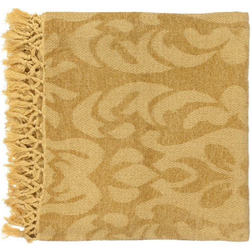 "Surya Tristen Tst-2001 Hand Woven 100% Viscose Golden 50"" X 70"" Damask Throw"