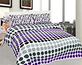 BeautifulHOMES Mejestic Cotton Double Bedsheet With 2 Pillow Cover - Purple and Black