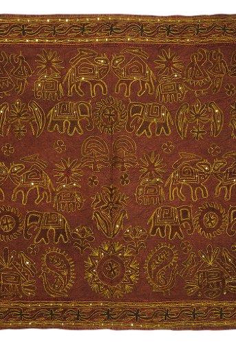 Imagen 1 de Indio del bordado tradicional a mano Zari lentejuelas y Wall Hanging Trabajo Algodón Tamaño 54 x 33 pulgadas