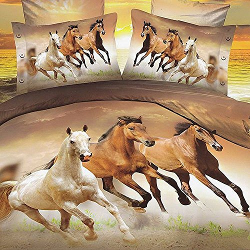 Alicemall Twin Size 3D Horse Bedding Set 4 Piece Galloping Horses Polyester Duvet Cover Sets, 4 PCS Brown Color Horse Bedding, No Comforter (Twin) (Twin Horse Quilt compare prices)