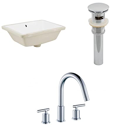 18.25-in. W x 13.5-in. D CUPC Rectangle Undermount Sink Set In White With 8-in. o.c. CUPC Faucet And Drain
