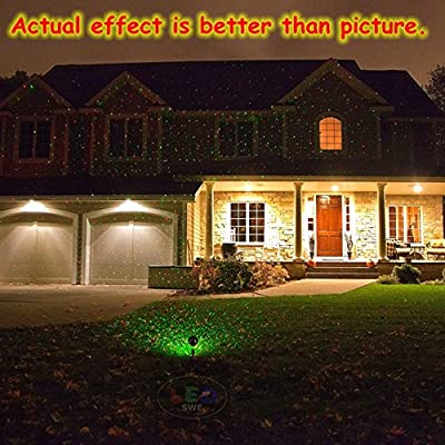 SWE Red and Green 2 Color Star Laser Landscape Projector Light Remote Garden Tree and Outdoor Wall Decoration Laser Lights for Decorative Light, Holiday Lighting, Christmas Lights