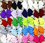 20pcs-35-Inch-Girls-Kids-Children-Baby-Hair-Bows-Alligator-Hair-Clips-Grosgrain-Ribbon-Headbands