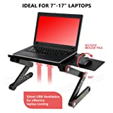 Desk York Portable Laptop Stand - Best GIFT For Friend-Men-Women-Student - Recliner/Bed Lap Tray - Aluminum Light Table For Computer - 2 Built in Cooling Fans - Mouse Pad and Usb Cord -Up To 17