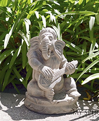 Garden Ganesh Statue Playing Sitar