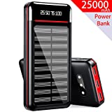 Solar Charger 25000mAh Power Bank Portable Charger Battery Pack with 3 Outputs & 2 Inputs Huge Capacity Backup Battery Compatible Smartphone,Tablet and More
