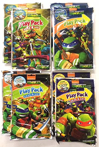 Teenage Mutant Ninja Turtle (TMNT) Grab n Go Play Packs - Pack of Eight (8) - (Two) 2 Packs Per Style (Ninja Coloring Book Party Favors compare prices)