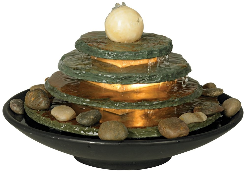 Pyramid Ball Feng Shui Lighted Table Fountain