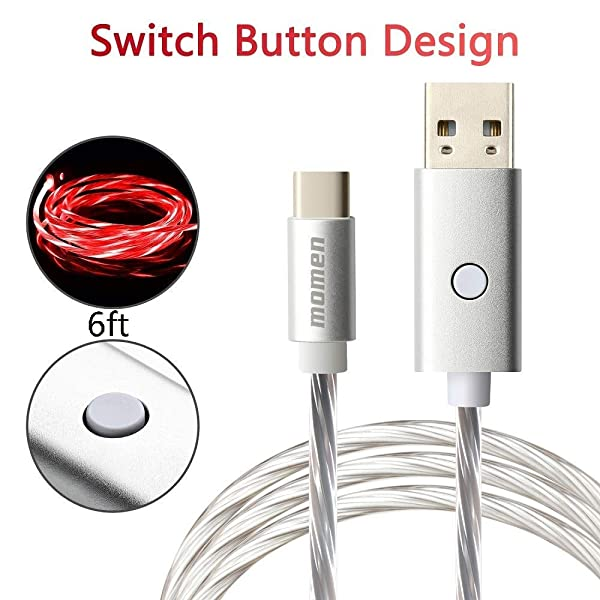 momen USB C Chrager, 6FT LED USBC Cable for Samsung Galaxy Note 9 8 S8 S9 S10 Plus S10e, Google Pixel, Nintendo Switch, Nexus, LG V30 V20 G6 5 (Red Light) (Color: red-6ft-1pack, Tamaño: 6 feet)