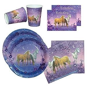 Partyset Traumpferdchen Blütenzauber, 44-tlg., Kindergeburtstag mit 6 Mädchen; 6 Papp-Teller, 6 Papp-Bechern, 20 Servietten und 12 Einladungskarten mit Briefumschlag für die Pferdeparty Mottoparty Pferde