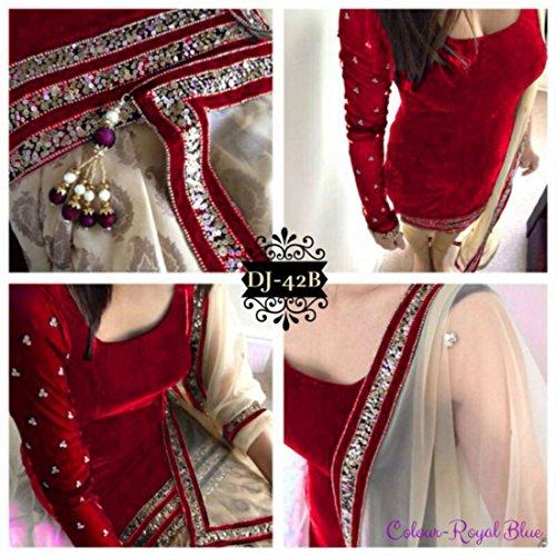 Women's Anarkali Salwar Kameez Velvet Designer Indian Dress Bollywood Ethnic Party (Unstitched, Red)