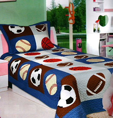 Mk Collection 2 Pc Bedspread Boys Sport Football Basketball Baseball New (Basketball Quilt compare prices)