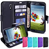 S4 Case, LK [Kickstand Feature] S4 Wallet Case, Luxury PU Leather Wallet Case Flip Cover Built-in Card Slots Stand For Samsung Galaxy S4, BLACK