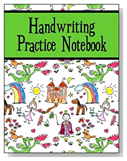 Handwriting Practice Notebook For Kids - Both boys and girls will enjoy the green banner and the storyland scene on the cover of this handwriting practice notebook for younger kids.