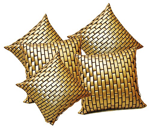 GOLDEN LEATHER BRICKS CUSHION COVER 5 PCS SET (40 X 40 CMS)