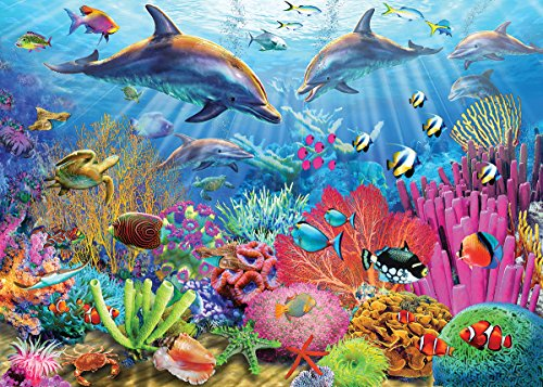White Mountain Puzzles Dolphin Reef - 100 Piece Jigsaw Puzzle
