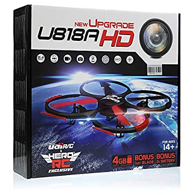 UDI U818A-HD RC Quadcopter Camera Drone UFO 4CH 6-Axis Gyro Remote Control Drone 2.4ghz w/HD Camera w/Return Home +Headless +360 Flips w/4GB card+(3)Drone Battery+Dual Battery Charger+Extra Blades from UDI