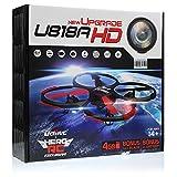 UDI U818A-HD RC Quadcopter Camera Drone UFO 4CH 6-Axis Gyro Remote Control Drone 2.4ghz w/HD Camera w/Return Home +Headless +360 Flips w/4GB card+(3)Drone Battery+Dual Battery Charger+Extra Blades
