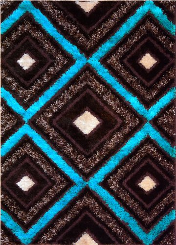 "Royal Collection Turquoise Blue Brown Contemporary Design Shaggy Shag Area Rug (6096) (6'7""X9'6"") front-873384"