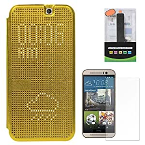 DMG Smart Dot View With Auto Sleep Wake Flip Cover Case For HTC One M9 (Copper) + 2600 mAh PowerBank + Screen Guard