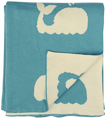 "DARZZI Whale Knitted Baby Blanket, Turquoise/Natural, 35"" x 45"""