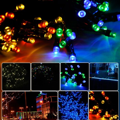 Lycheers 32.8ft (10 m) 100 LED Operated Outdoor and Indoor RGB Battery String Lights With Auto Timer Feature and 8 Functions (Multicolor)
