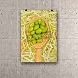 ArtzFolio Beautiful Image of a spoonful of soybeans on a Bed of broccoli Canvas Art Print with Frame - Size 17.0 inch x 24.7 inch