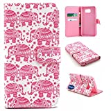 Adela Shop Note 5 Wallet Case, PU Leather and Soft TPU Built-in Card Slot and Money Pocket Flip Protective Skin With Stand Feature Cover Samsung Galaxy Note 5/N9200 (5.7inch) (Pink elephant)