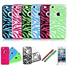 E LV Three Pieces Interchangeable Zebra Design Hard and Soft Hybrid Armor Combo Case Skin Gel Bundle for Apple iPhone 5C with 2 Screen Protectors, 2 Stylus and 1 Microfiber Digital Cleaner (Black Light Blue/White Green/Black Hot Pink)