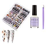 Halloween Nail Foil Transfer Stickers Day Of The Dead Nail Art Decals Halloween Party Accessories Wraps with Pumpkin Witch Spider Web Ghost Design Nail Foil Glue Manicure Stick DIY Fingernail toenail (Color: Sky_5)