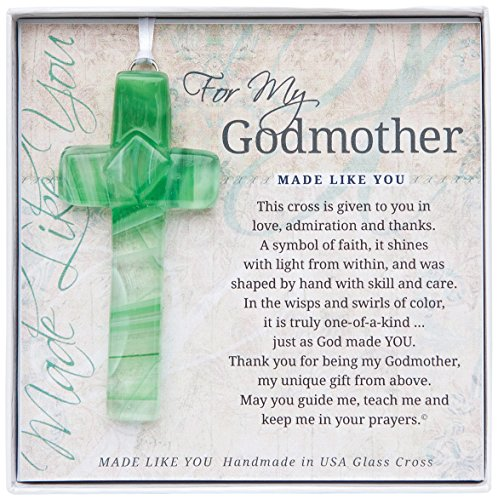 Grandparent Gifts For My Godmother Handmade Green Glass Cross Size: 4 inches