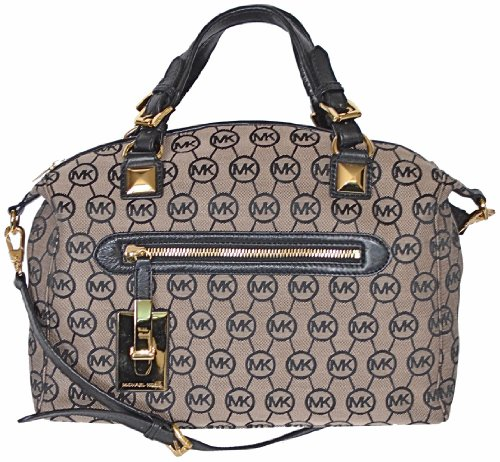Michael Kors Monogram Signature Calista Satchel Bag Shoulder Tote Handbag Large