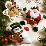 Bucilla Felt Applique Ornament Kit, 5 by 5-Inch, 86309 Christmas Stars (Set of 6)
